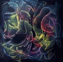 La Joie 悦, 100 x 100cm, 布面油画2021 Mauricio Paz Viola