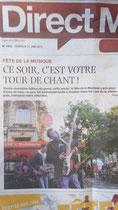 Une de Direct Matin le 21 juin 2013 Lille