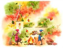 「しばし休憩…落ち葉?ひろい」~教会をつくろう 11月