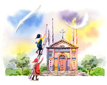 「天から羽が…」~教会をつくろう 1月
