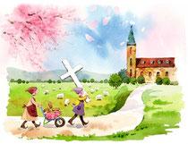 「丘の上までかついで行く」~教会をつくろう 4月