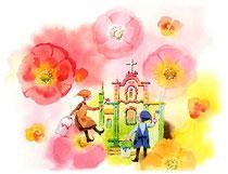 「花の色に塗ってみる」~教会をつくろう 3月