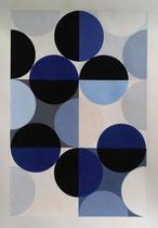 Ellen Roß: Quadratur des Kreises, 2015, Vinyl und Acryl auf Karton, n°1, 50 x 70 cm