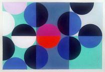 Ellen Roß: Quadratur des Kreises, 2015, Vinyl und Acryl auf Bütten, 25 x 35 cm