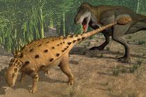 エウオプロケファルスがダスプレトサウルスが戦っています