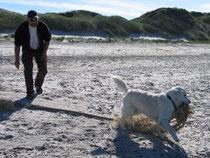 Bernd und Jule beim Aufräumen am Strand