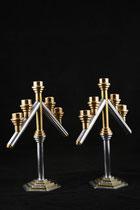 """Candlestick holder, 12"""" height x 10"""" width, aluminium and brass, 2006 16/28"""