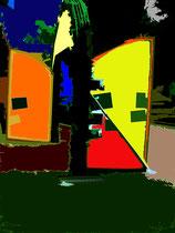 """""""Espelkamp geht durch die Mitte"""" H / Fotoveränderungen der verschiedenen Tore in Espelkamp als Tintenstrahldruck auf Fotopapier / Werkverzeichnis Nachträge / datiert 08.2002 / Maße b 21,0 cm * 29,7 cm"""
