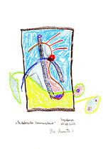 """""""Andalusischer Sommerabend"""" Sayalonga, 05.08.2013. Originalgrafik. Größe b 21,0 cm * h 29,7 cm. Bleistift, Textilfarben und Kreide auf Papier. Werkverzeichnis 4157."""
