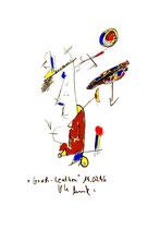 """""""Windsurfing"""" WVZ 1.014 / datiert 16.07.96 / Filzstift auf Papier / Maße b 12,2 cm * h 16,0 cm"""