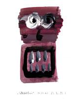 """""""Selbstbildnis"""" 8 / WVZ 3.252 / datiert Wiesmoor, 11.12.00 / diverse Farben auf Papier / Maße b 30,0 cm * h 42,0 cm"""