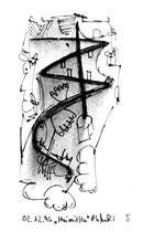 """5 """"Hai mit Hut"""", WVZ 1.175, datiert 12.02.1996, Kohle und Filzstift auf Bütten, Maße b 10,0 cm * h 16,0 cm."""