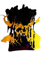 """""""Wohlstandsmüll"""" Gestringen, den 15.10.1988, Werkverzeichnis 111, Binderfarben und Ölfarben auf Papier, b 50,0 cm x h 70,0 cm"""