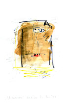 """Ich muß heim"" / WVZ 3.221 / datiert 06.11.00 / Filzstift, Bleistift, Asche und Aquarell auf Papier / Maße b 21,0 cm * h 29,7 cm"