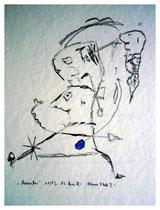 """""""November"""" - Blauer Fleck II - Werkverzeichnis 816, Bleistift und blaue Tinte auf Papier, aus 11/95, Größe b 30,0 cm * h 40,0 cm."""
