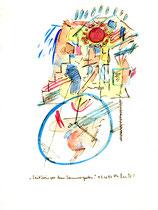 """""""Zeitkreis vor dem Sommergarten."""" / Werkverzeichnis 1.237 / datiert 03.01.97 / Filzstift und Aquarell auf Papier / Maße b 18,0 cm * h 24,0 cm"""