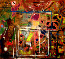 """""""ABC123 Alles Paletti"""" Gestringen, 08/92, Werkverzeichnis 298 Kreide, diverse Farben und Lacke auf Pappe b 69,0 cm * h 62,0 cm"""
