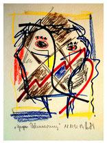 """""""Gegen Dämmerung"""" Gestringen, 18/12/92, Werkverzeichnis 334, Textilfarbe und Kreide auf Papier b 18,0 cm * h 24,0 cm"""