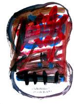"""""""Selbstbildnis"""" 10 / WVZ 3.254 / datiert Wiesmoor, 11.12.00 / diverse Farben auf Papier / Maße b 30,0 cm * h 42,0 cm"""