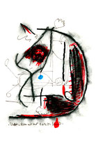 """""""Schafott und Richter mit Hut"""" Links: WVZ 1.088 / datiert 08.11.1996 / Kohle und Filzstift auf Papier / Größe b 24,0 cm * 32,0 cm"""