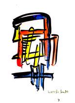 """""""o. T."""" 4 / Werkverzeichnis 1.700 / datiert 20.08.98 / Aquarell und Tusche auf Papier / Maße b 30,0 cm * h 42,0 cm"""