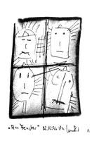 """1 """"Am Fenster"""", WVZ 1.171, datiert 12.02.1996, Kohle und Filzstift auf Bütten, Maße b 10,0 cm * h 16,0 cm."""