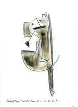 """13. """"Vergeigte Geige"""" / datiert 09.07.01 / Bleistift und Asche auf Papier / Maße b 21,0 cm * h 29,7 cm / WVZ 3.362"""