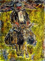 """""""Korse II"""" Zweites Bild einer Serie von 6 Drucken vom Pappe-Druckstock, Gestringen, den 18.04.1992, Werkverzeichnis 284, Farbdruck auf Japanpapier, b 40,0 cm * 50,0 cm"""
