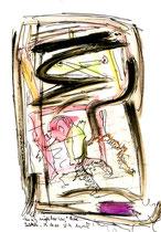 """""""Einzig möglicher Weg"""" / WVZ 3.400 / datiert 29.10.01 / Kreide, Textilfarbe und Aquarell auf Papier / Maße b 21 cm * h 29,7 cm"""