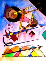 """""""Hammerschläge, nach rechts treibend"""" Gestringen, 08/92, Werkverzeichnis 305, Aquarell und Textilfarbe auf Papier, b 42,0 cm * h 56,0 cm"""