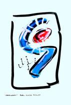 """""""Gedankenausbruch 6"""" / Werkverzeichnis 1.931 / datiert Boddin, 13.02.99 / diverse Farben auf verschiedenfarbigem Papier / Maße b 29,7 cm * h 42,0 cm"""
