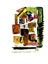 """""""Es gibt keine Zeit"""" Werkverzeichnis 1.240 / datiert 03.01.97 / Filzstift und Aquarell auf Papier / Maße b 18,0 cm * h 24,0 cm"""