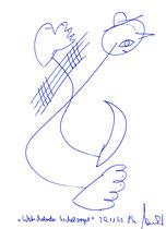 """""""Watschelnder Sichelvogel"""", 29.11.1995 / WVZ 850 Kugelschreiberzeichnung auf Pappe, b 14,8 cm * h 21,0 cm"""