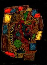 """""""o.T"""" - hier Arbeit 1, WVZ 1.163 / 30.11.96 / Aquarell, Ölkreide, Textilfarbe und Lack auf Pappe / b 12,0 cm * h 16,0 cm"""