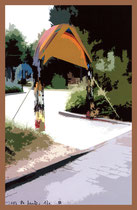 """""""Espelkamp geht durch die Mitte"""" D / Fotoveränderungen der verschiedenen Tore in Espelkamp als Tintenstrahldruck auf Fotopapier / Werkverzeichnis Nachträge / datiert 08.2002 / Maße b 21,0 cm * 29,7 cm"""