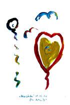 """Herzsüden"" - Seelenbild 3 - WVZ 3.269 / datiert Wiesmoor, 11.12.00 / diverse Farben auf Papier / Maße b 30,0 cm * h 42,0 cm"