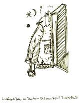 """""""Hängende Jacke am Fenster im ICE"""" / Werkverzeichnis 1.737 / datiert 07.10.98 / Filzstift auf Papier / Maße b 20,6 cm * h 27,8 cm"""