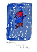 """""""Kriegsminister"""" / Torrox, 04.12.08 / Originalgrafik als Zeichnung mit Ölkreide und Aquarell auf Papier / b 21,0 cm * h 29,7 cm / Werkverzeichnis Nachträge"""