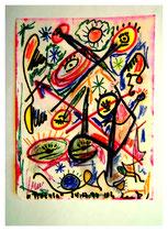 """""""Tralala"""" Gestringen, den 24.12.92, Werkverzeichnis 336, Aquarell und Textilfarbe a. Papier, b 18,0 cm * h 24,0 cm"""