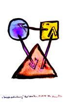"""""""Dreiecksverbindung"""" / Werkverzeichnis 1.646 / Datiert Bad Sobernheim, 22.07.1998 / Aquarell und Tusche auf Papier / Maße b 42,0 cm * h 56,0 cm"""