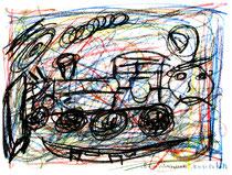 """""""Eisenbahnballade"""" Isny, den 08.11.1991 Werkverzeichnis 202 Kreide und Kohle auf Papier b 40,0 cm * h 30,0 cm"""