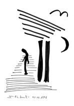 """""""o. T."""" 1 / Werkverzeichnis 1.794 / Datiert 01.11.98 / Textilfarbenfilzstift auf Pappe / Maße b 25,5 cm * h 34,2 cm"""