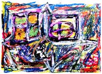 """""""Kopfgeburt der Himmelsrichtungen"""" Isny, 11.1991, Werkverzeichnis 253, Tusche, Tinten und Ölkreide auf Papier, b 40,0 cm x h 30,0 cm"""