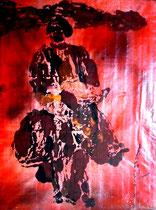 """""""Korse VI"""" Sechstes Bild einer Serie von 6 Drucken vom Pappe-Druckstock, Gestringen, den 18.04.1992, Werkverzeichnis 288, Farbdruck auf Japanpapier, b 35,8 cm * 39,8 cm"""