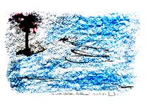 """""""Sie werden überleben, die Blumen"""" Isny, den 20.11.1991, Werkverzeichnis 236, Tusche, Ölkreide und Tinte auf Papier, b 40,0 cm * h 30,0 cm"""