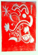 """""""o. T."""" 04.11.1995 / WVZ 835 Serie von 11 Arbeiten 6/11 Linoldruck rot auf Druckpapier b 31,5 cm * h 47,5 cm"""