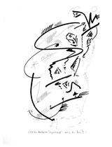 """""""Sich frei denkender Doppelkopf"""" Zeichnungsserie von insgesamt 7 Arbeiten. Hier Blatt 2 von 10/95 / Werkverzeichnis 563 b 30,0 cm * h 40,0 cm"""