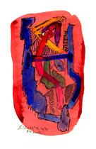 """""""Einheit 4"""", WVZ 1.028, / datiert 03.10.1996 / Filzstift und farbige Tinten auf Bütten / Größe b 10,0 cm * 16,0 cm"""