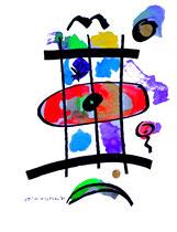 """""""o. T. 2"""", Werkverzeichnis 842, vom 15.11.1995, Tusche, Aquarell und Filzstift auf Papier, Größe b 36,0 cm * h 48,0 cm"""