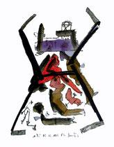 """o. T."", 02.12.95 / WVZ 872 / Filzstift, Aquarell, Tusche auf Papier / b 30 cm * h 40 cm"